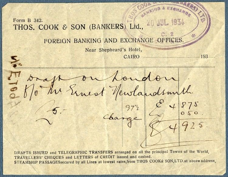 Ernest Newlandsmith Draft from Thomas Cook Son Bankers Ltd to Ernest Newlandsmith