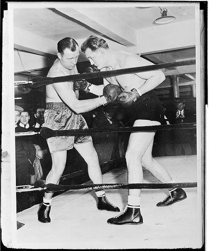Ernie Schaaf Ernie Schaaf and Jack Sharkey in sparring pose a photo
