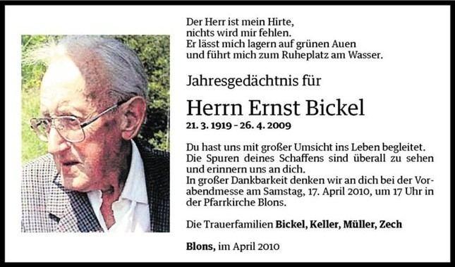 Ernst Bickel Ernst Bickel Jahresgedchtnis VN Todesanzeigen