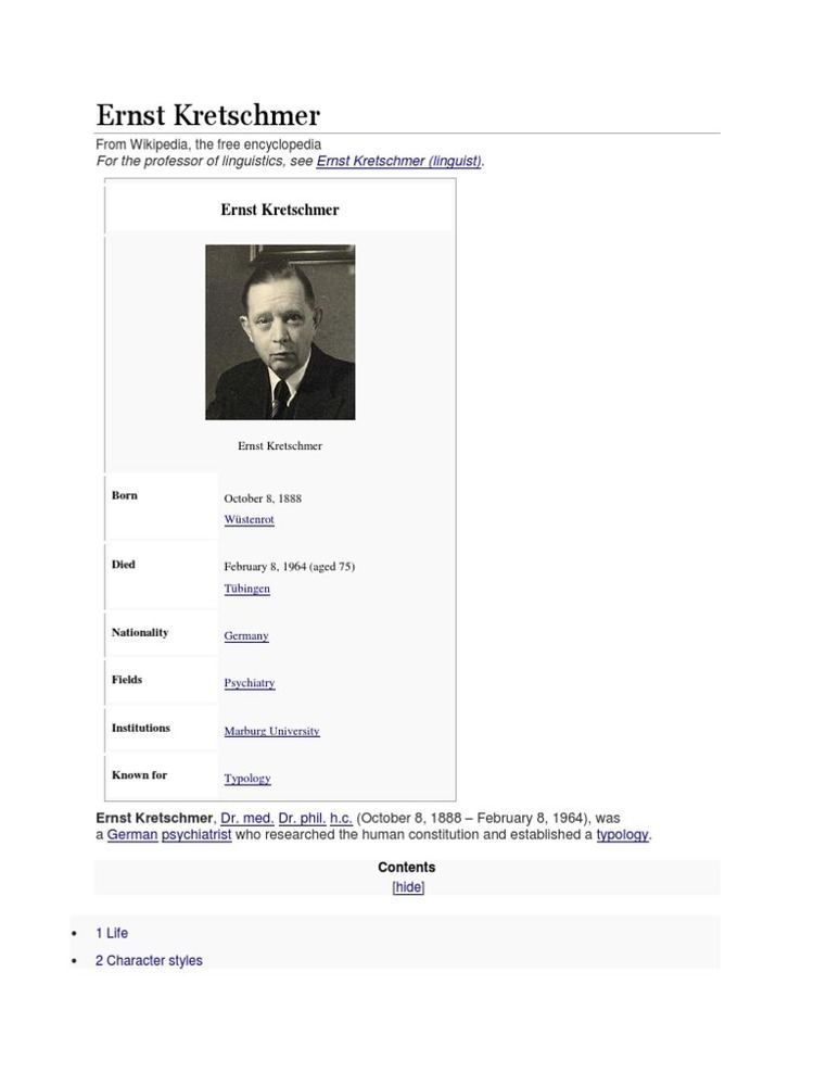 Ernst Kretschmer (linguist) Ernst Kretschmer date biografice Psychiatry Related Fields