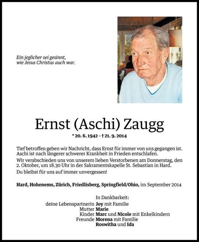 Ernst Zaugg Ernst Zaugg Todesanzeige VN Todesanzeigen