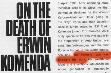Erwin Komenda Porsche Christophorus Magazin 1966 The Porsche Form was basically