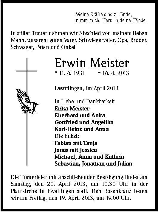Erwin Meister Erwin Meister Trauer Traueranzeigen Nachrufe badischezeitungde
