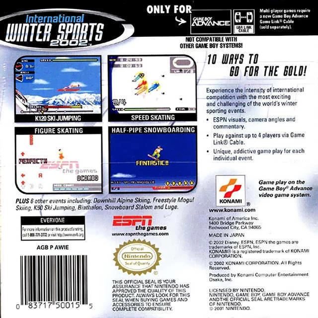 ESPN International Winter Sports 2002 ESPN International Winter Sports Box Shot for Game Boy Advance