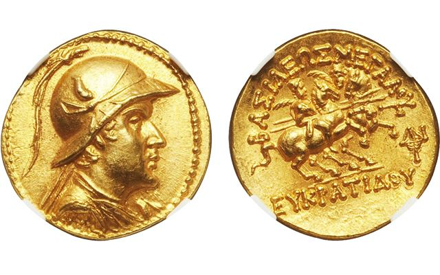 Eucratides I Rare gold stater of Eucratides I features powerful image of ruler