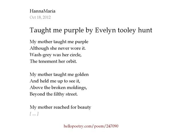taught me purple by evelyn tooley hunt