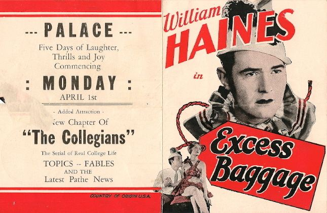 Excess Baggage (1928 film) William Haines in EXCESS BAGGAGE 1928 hollywood Pinterest