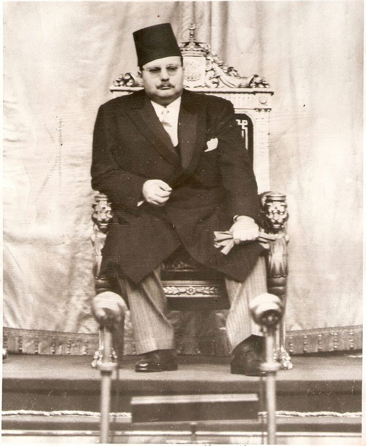 Farouk of Egypt HM King Farouk of Egypt Listens From His Throne As The
