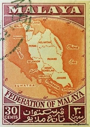 Federation of Malaya Malaysia Design Archive Stamp 30 cent Federation of Malaya