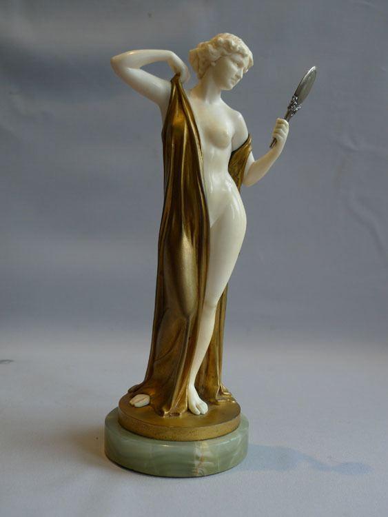 Ferdinand Preiss Ferdinand Preiss Art Deco bronze and ivory of Vanity with