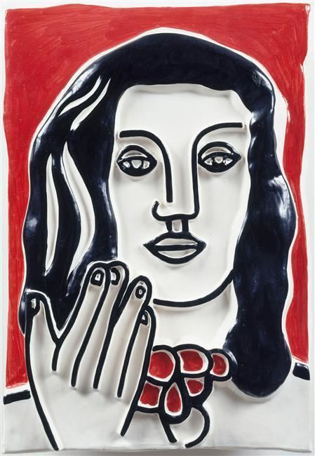 Fernand Leger Face by hand on a red background Fernand Leger WikiArtorg