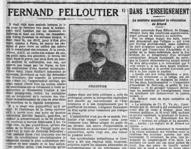 Fernand Pelloutier Fernand Pelloutier Dunois 1921 La Bataille socialiste