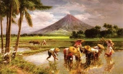 Planting Rice with Mayon Volcano by Fernando Amorsolo