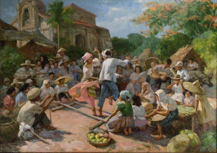 Tinikling in barrio 1951 by Fernando Amorsolo