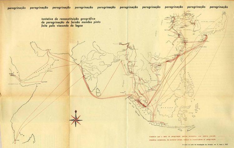 Fernão Mendes Pinto Um mapa da peregrinao do Ferno Mendes Pinto portugal