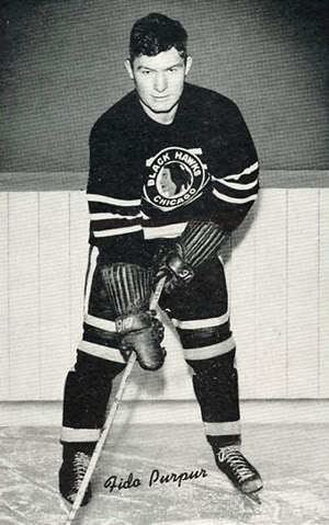 Fido Purpur Third String Goalie 194243 Chicago Black Hawks Fido Purpur Jersey