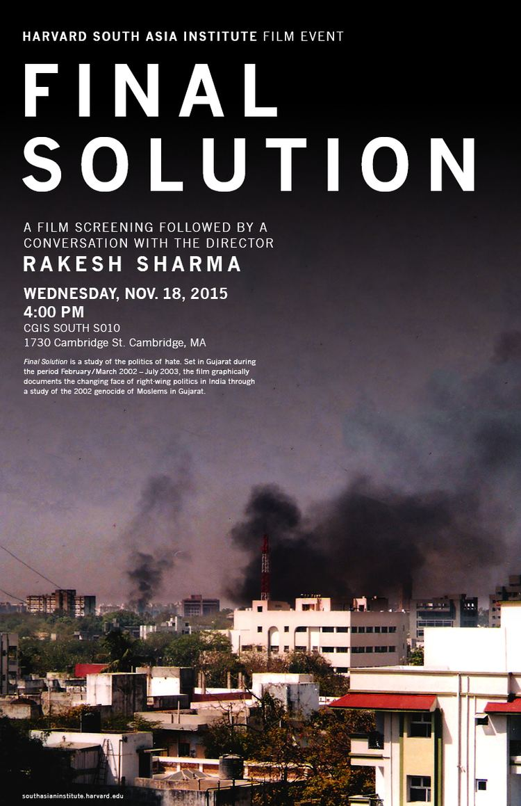 Final Solution (2003 film) Film Screening and QA Final Solution South Asia Institute