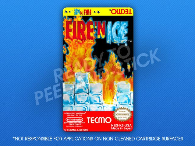 Fire 'n Ice NES Fire 39n Ice Label Retro Game Cases