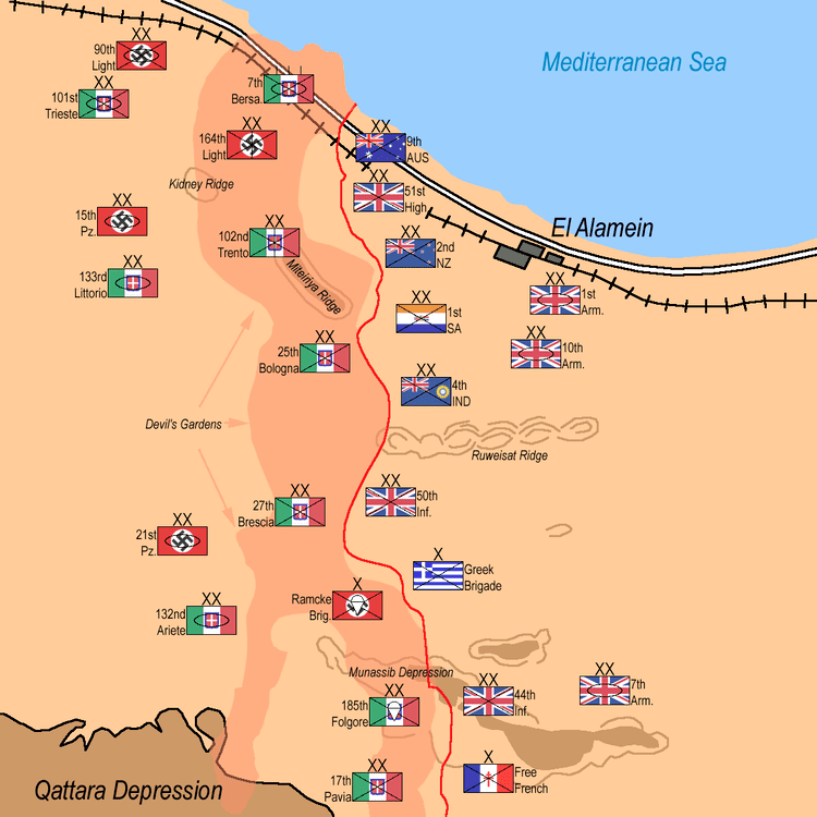 First Battle of El Alamein The First Battle of El Alamein 127 July 1942 was a battle of the