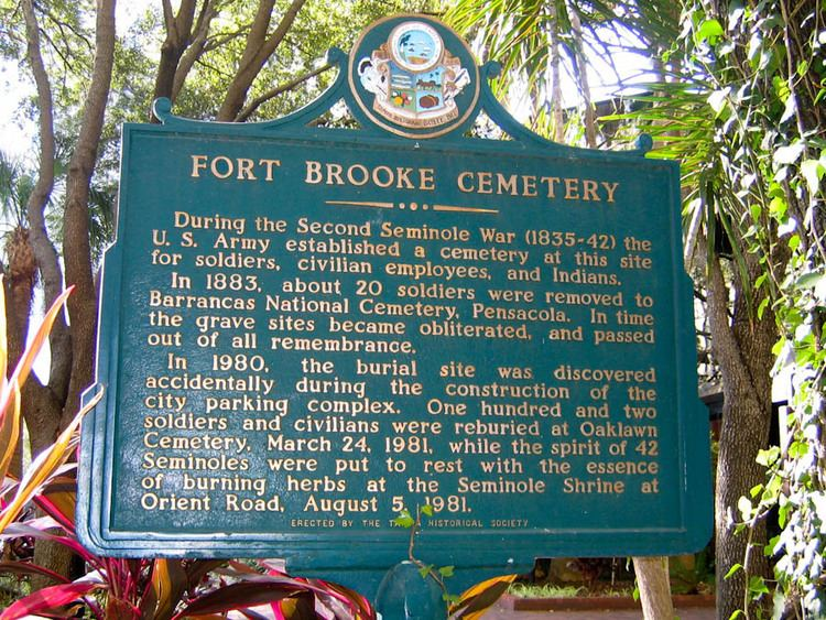 Fort Brooke Historical Marker dedicated to the Fort Brooke Cemetery