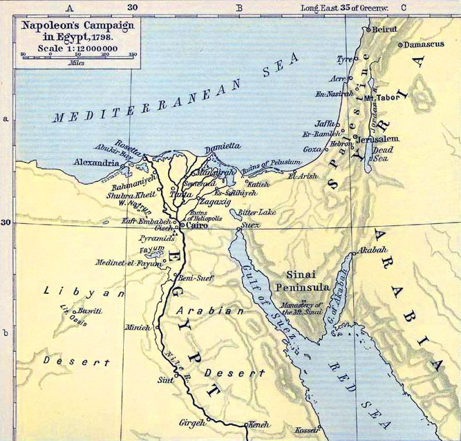 French campaign in Egypt and Syria Map of Egypt and Syria in 1798 Shepherd