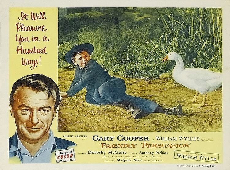 Friendly Persuasion (1956 film) movie scenes 1 Friendly Persuasion 1956 Gary Cooper Dorothy McGuire Anthony Perkins Richard Eyer Robert Middleton and Phyllis Love and Samantha the Goose