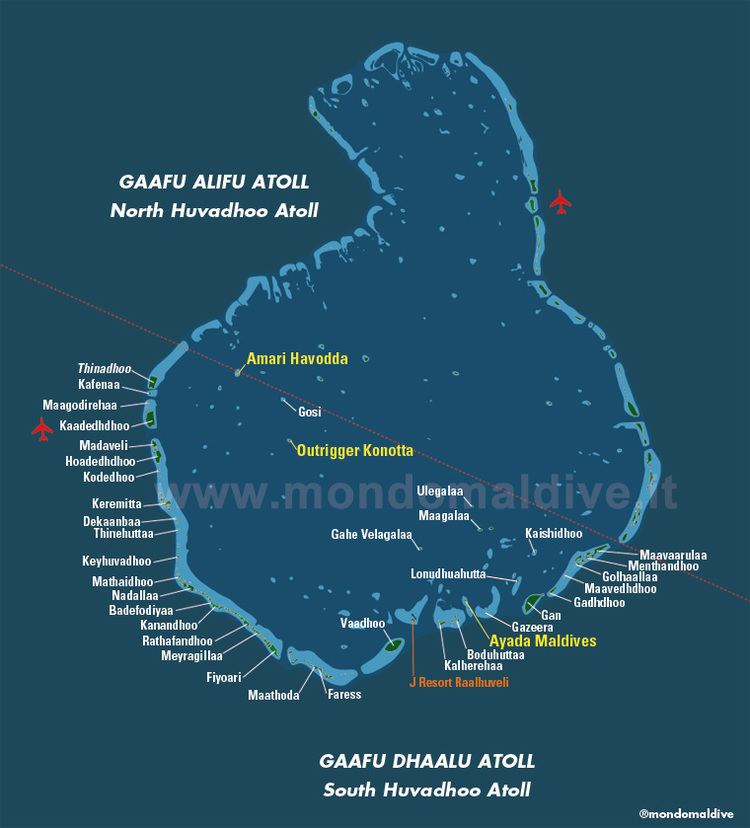 Map of Gaafu Dhaalu Atoll in Maldives