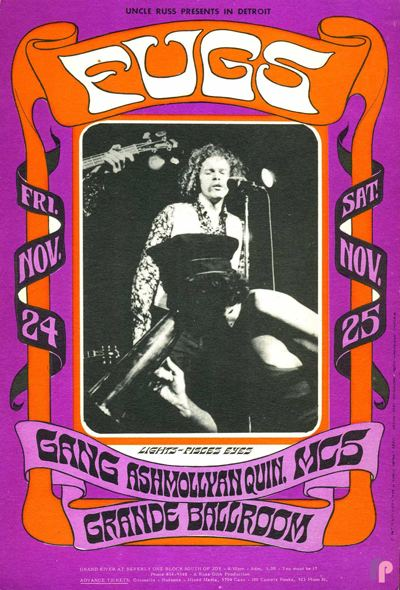 Gary Grimshaw Classic Poster Fugs at Grande Ballroom 1124 amp 2567 by
