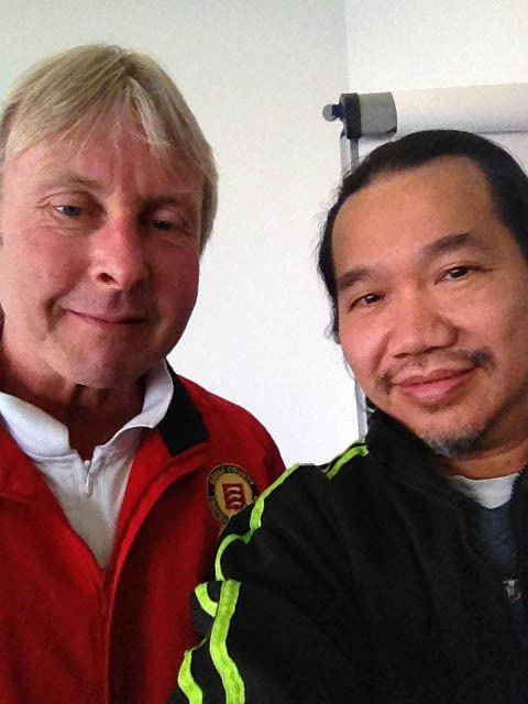 Gary Piggott Master Simon Wong with Gary Piggott the Coaching Development Officer