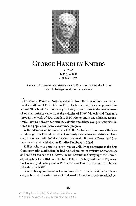George Handley Knibbs George Handley Knibbs Springer