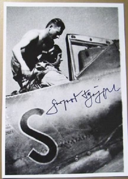 Gerhard Schöpfel LW 68 PILOT MAJOR GERHARD SCHPFEL 46 KILLS RKT LARGE SIGNED