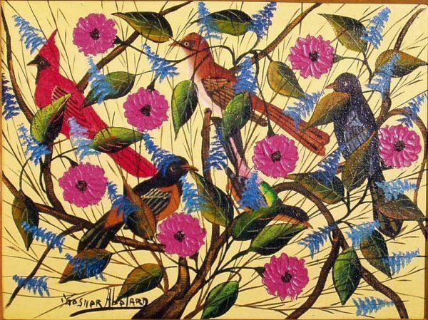 Gesner Abelard 1113 GESNER ABELARD Oil Painting of Birds Haiti NR Lot 1113
