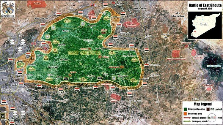 Ghouta Military Situation in East Ghouta Region Syria on August 12