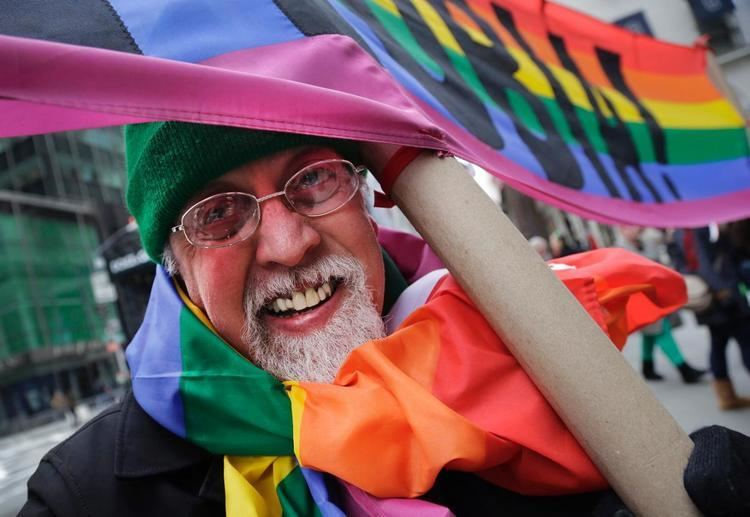 Gilbert Baker (artist) Gilbert Baker designs the first rainbow flag Photos