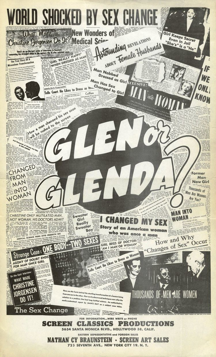 Glen or Glenda Glen or Glenda Screen Classics Productions1953 The Bela Lugosi Blog