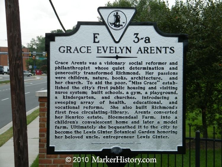 Grace Arents Grace Evelyn Arents E3a Marker History