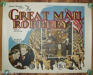 Great Mail Robbery THE GREAT MAIL ROBBERY RARE ORIGINAL 1927 SILENT MOVIE POSTER 12