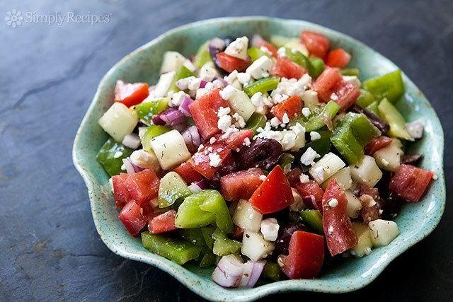 Greek salad Dad39s Greek Salad Recipe SimplyRecipescom