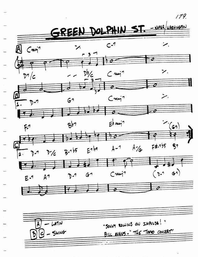 Green Dolphin Street Chord Changes GREEN DOLPHIN STREET GuitarCats