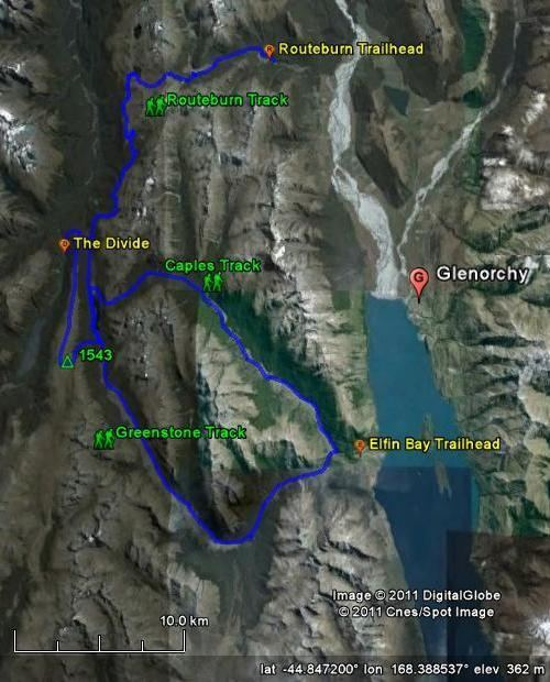 Greenstone and Caples Tracks Map of the Routeburn Caples and Greenstone Tracks Photos