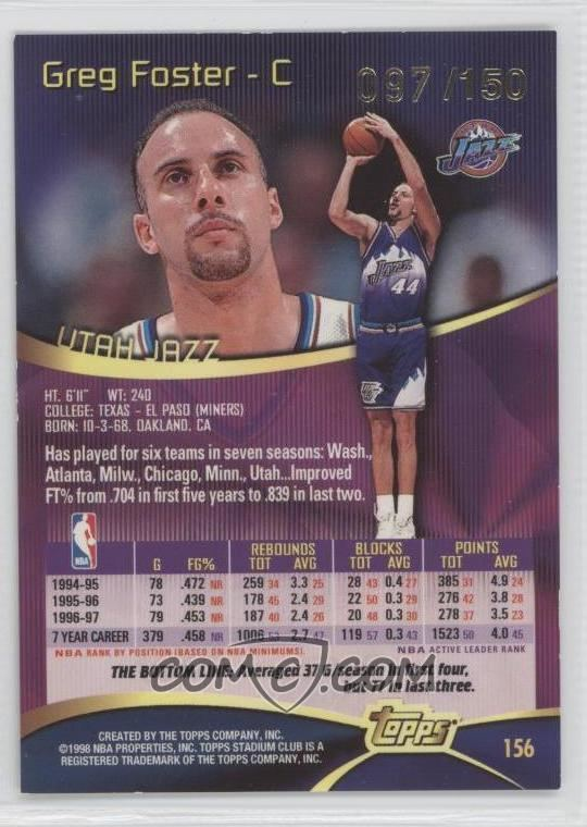 Greg Foster (basketball) 199798 Topps Stadium Club One of a Kind 156 Greg