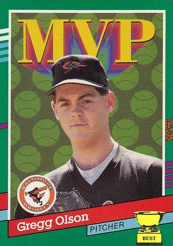 Gregg Olson Baseball Card Bust Gregg Olson 1991 Donruss MVP