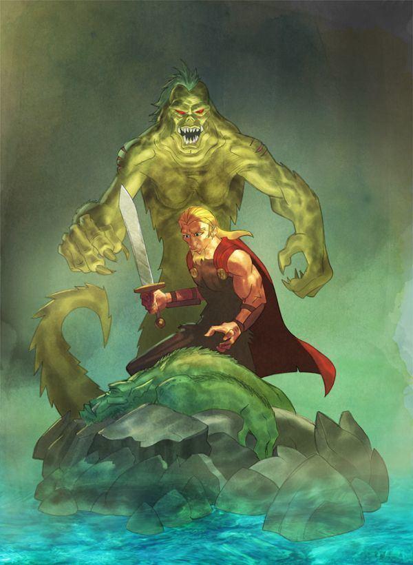 Grendel's mother Beowulf vs Grendel39s mother by evilfranco on deviantART Beowulf