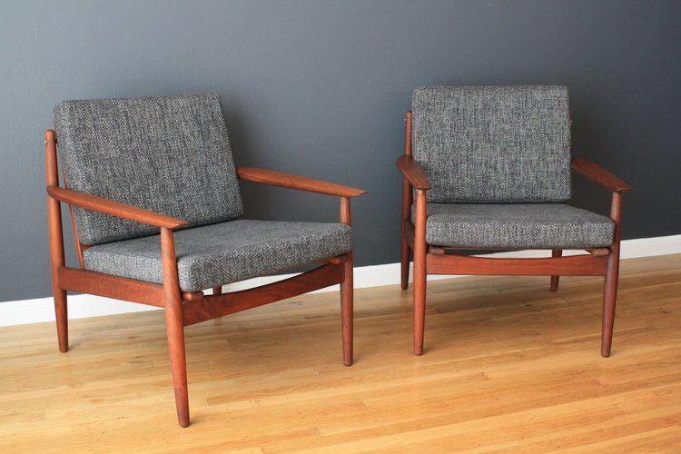 Grete Jalk Pair of Danish Modern Grete Jalk Lounge Chairs at 1stdibs