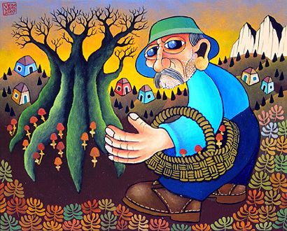 Guido Vedovato Collecting Mushrooms by Guido Vedovato GINA Gallery of