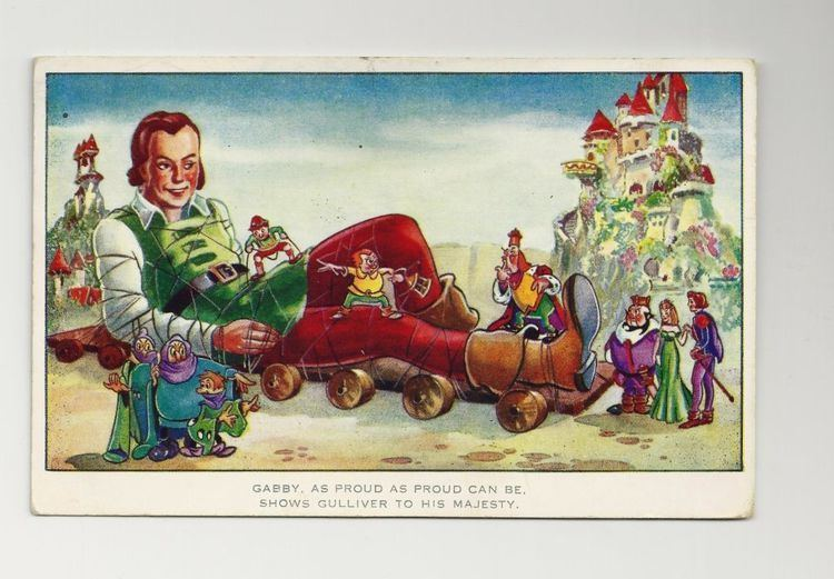 Gullivers Travels (1939 film) movie scenes 1939 Gulliver s Travels Cartoon Postcard Paramount Feature Animated Movie 1944 World War Two Postage and Whitstable Kent Postmark Colchester