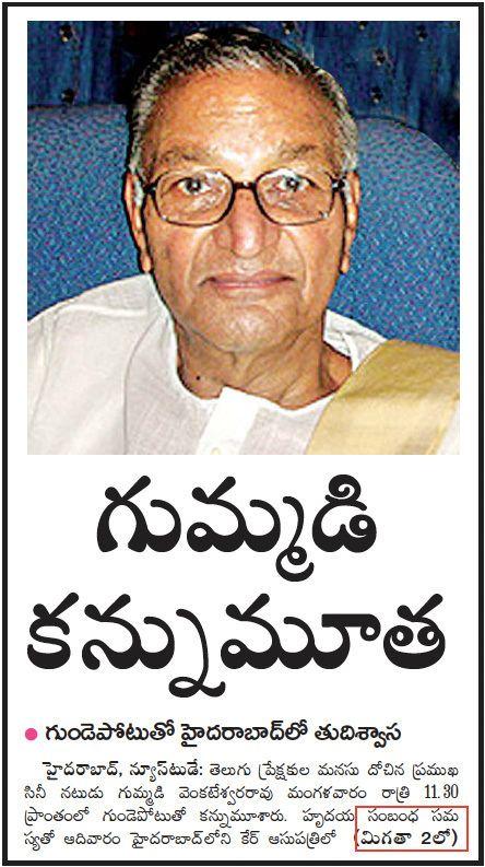 Gummadi Venkateswara Rao Worldwide NFans Club Tribute to Gummadi Venkateswara Rao