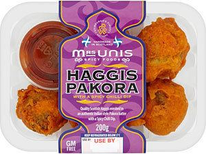 Haggis pakora Mrs Unis Haggis Pakora with a Spicy Chilli Dip 200g Compare