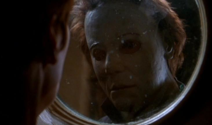 Halloween H20: 20 Years Later movie scenes HOW IS HIS MASK NOT DIRTY Also in this one they gave his mask an even dumber haircut He looked like he should have been a VJ on MTV in the late