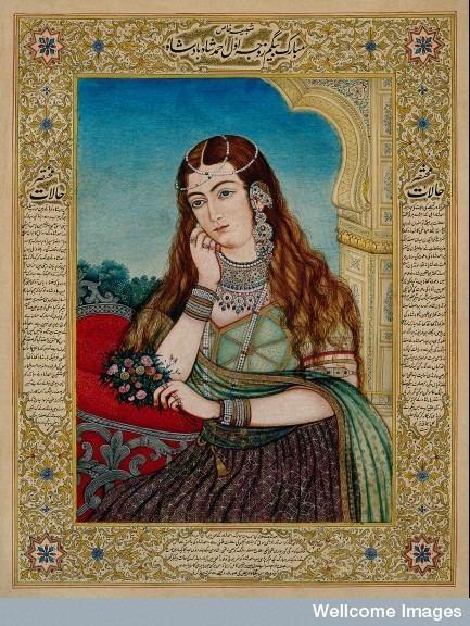 Hamida Banu Begum An European woman in Mughal costume and jewellery 19th